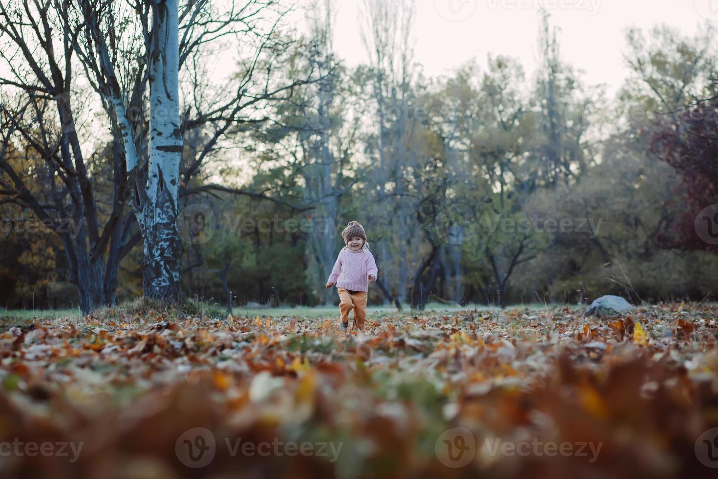niño muy alegre divirtiéndose mientras arroja hojas foto