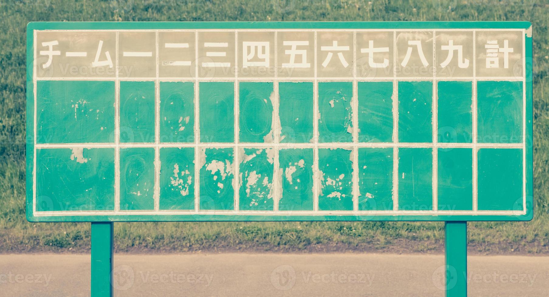 Japanese baseball score board photo