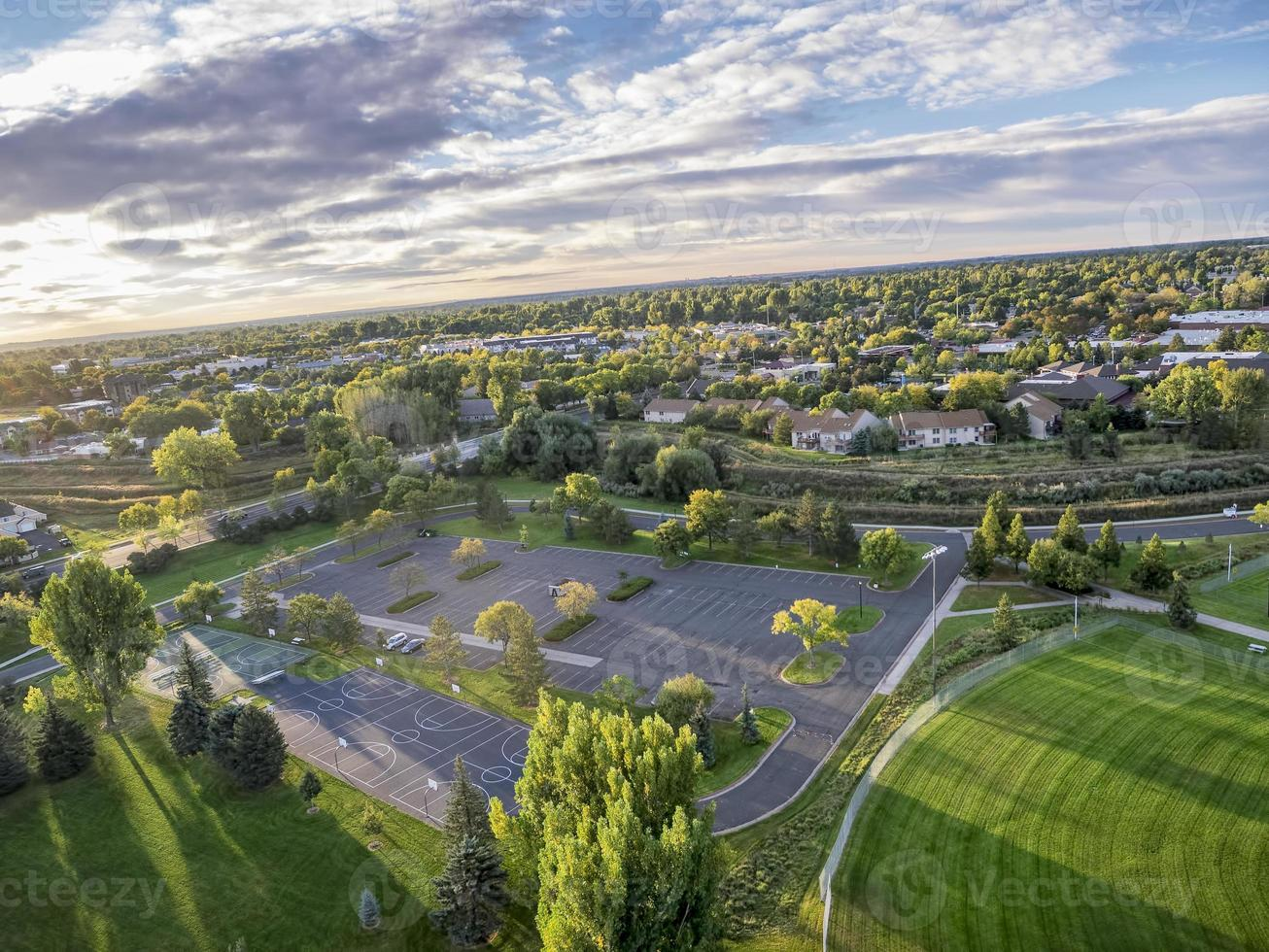 aerial view of basketball courts photo