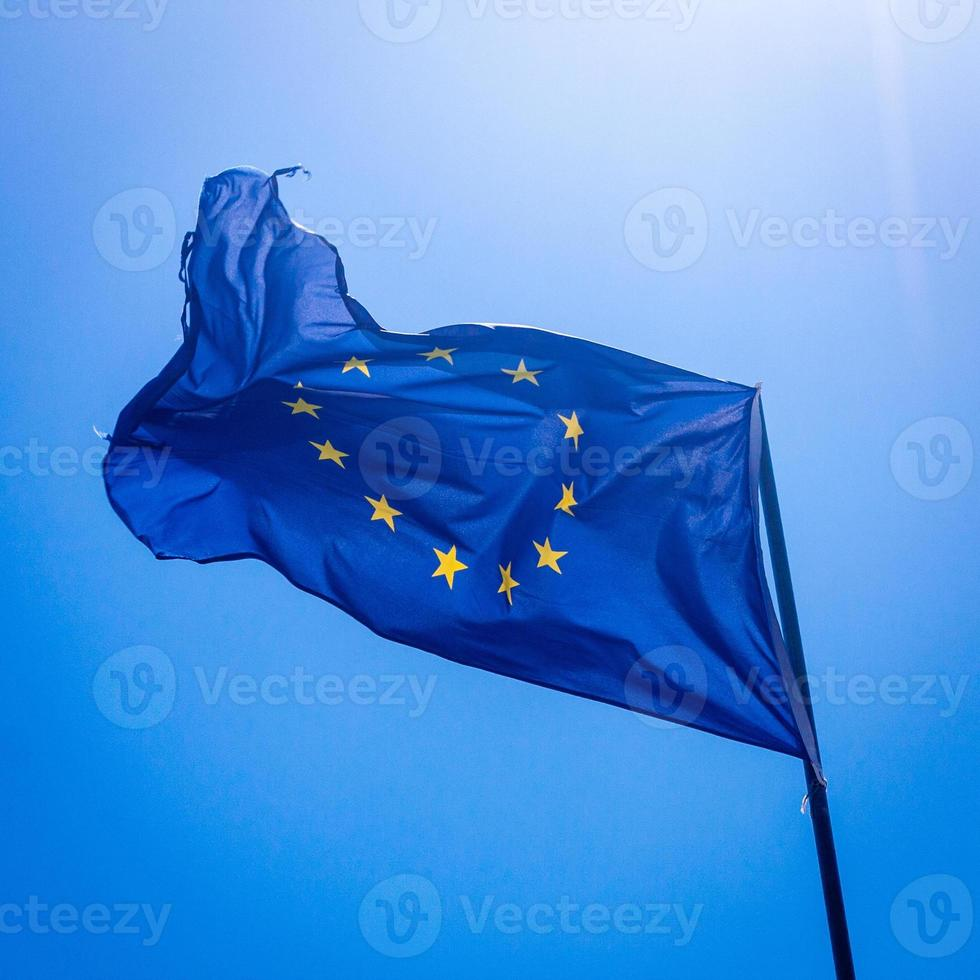 Backlit ragged EU flag photo
