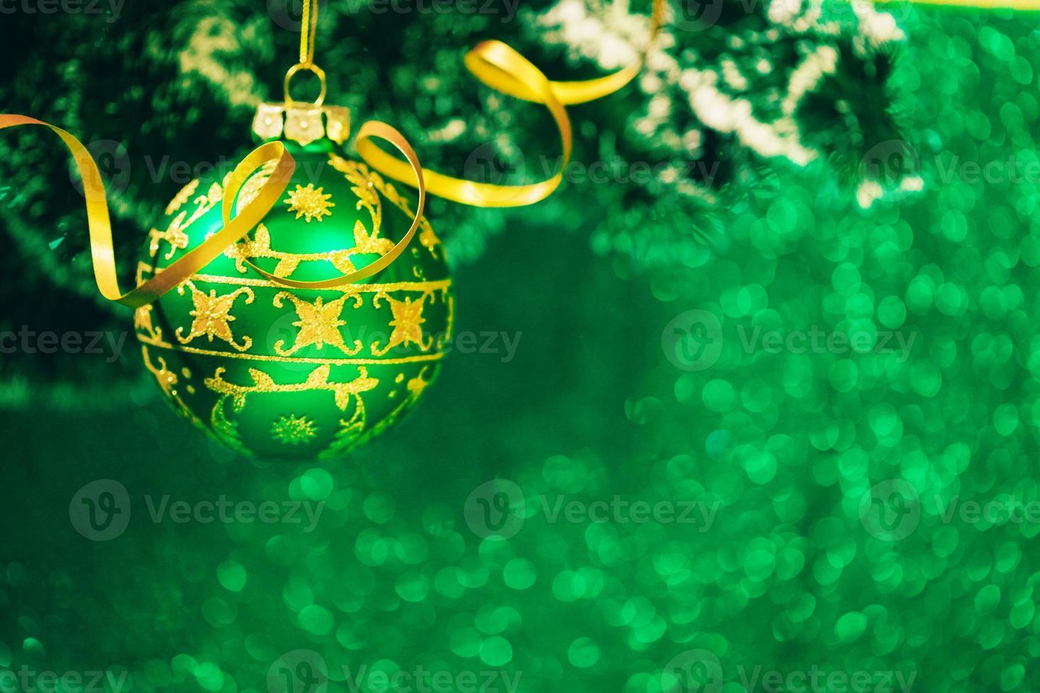 Christmas decoration on glitter background photo