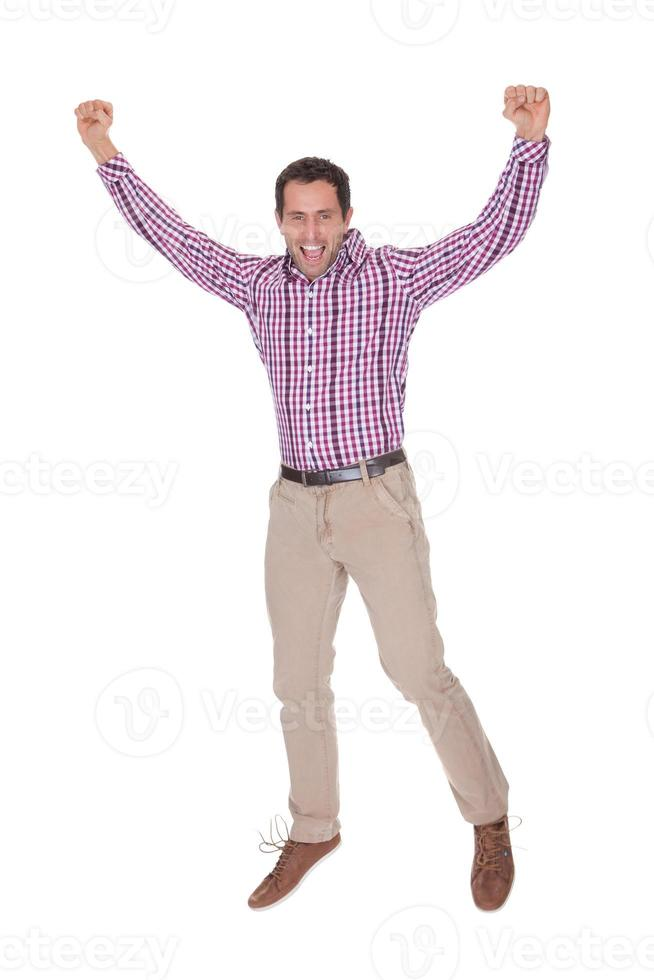 Portrait Of Young Man Cheering photo