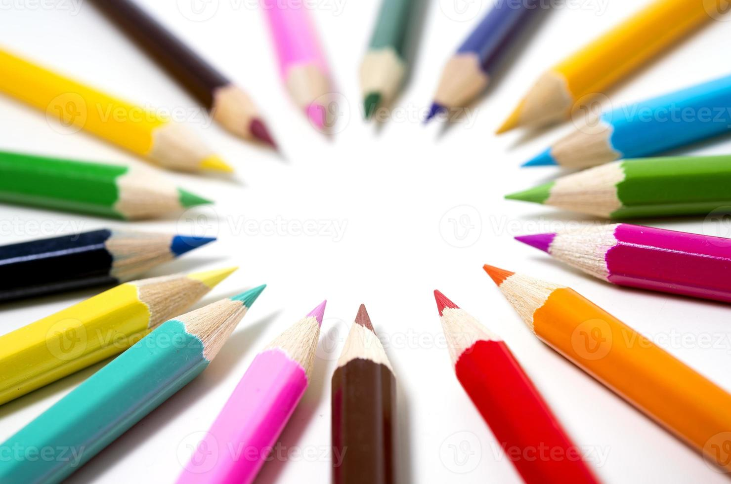 Set of drawing multi colour pencils with copy space photo