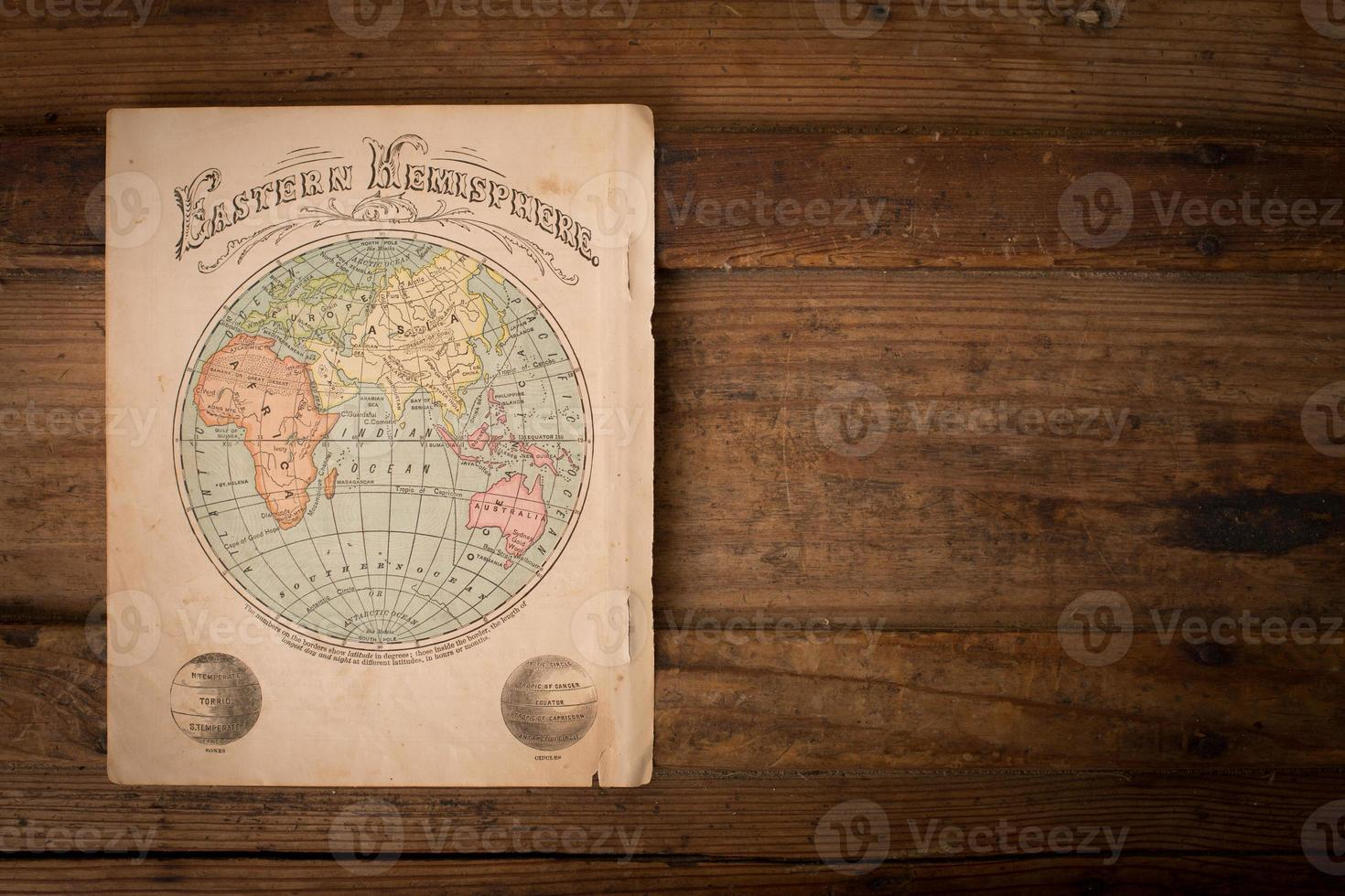 Old, Color Map of Eastern Hemisphere, With Copy Space photo