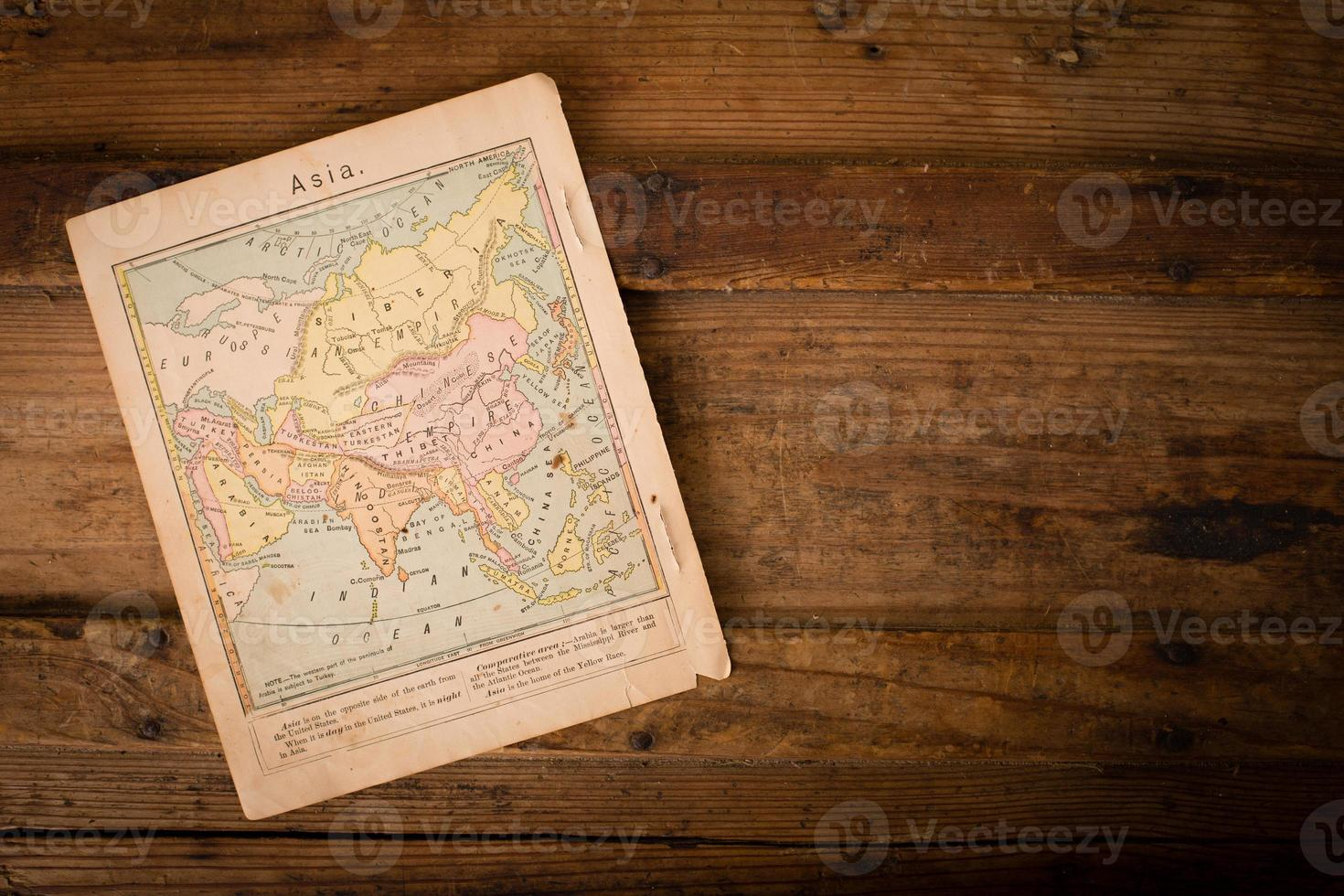 1867, Old, Color Map of Asia, With Copy Space photo