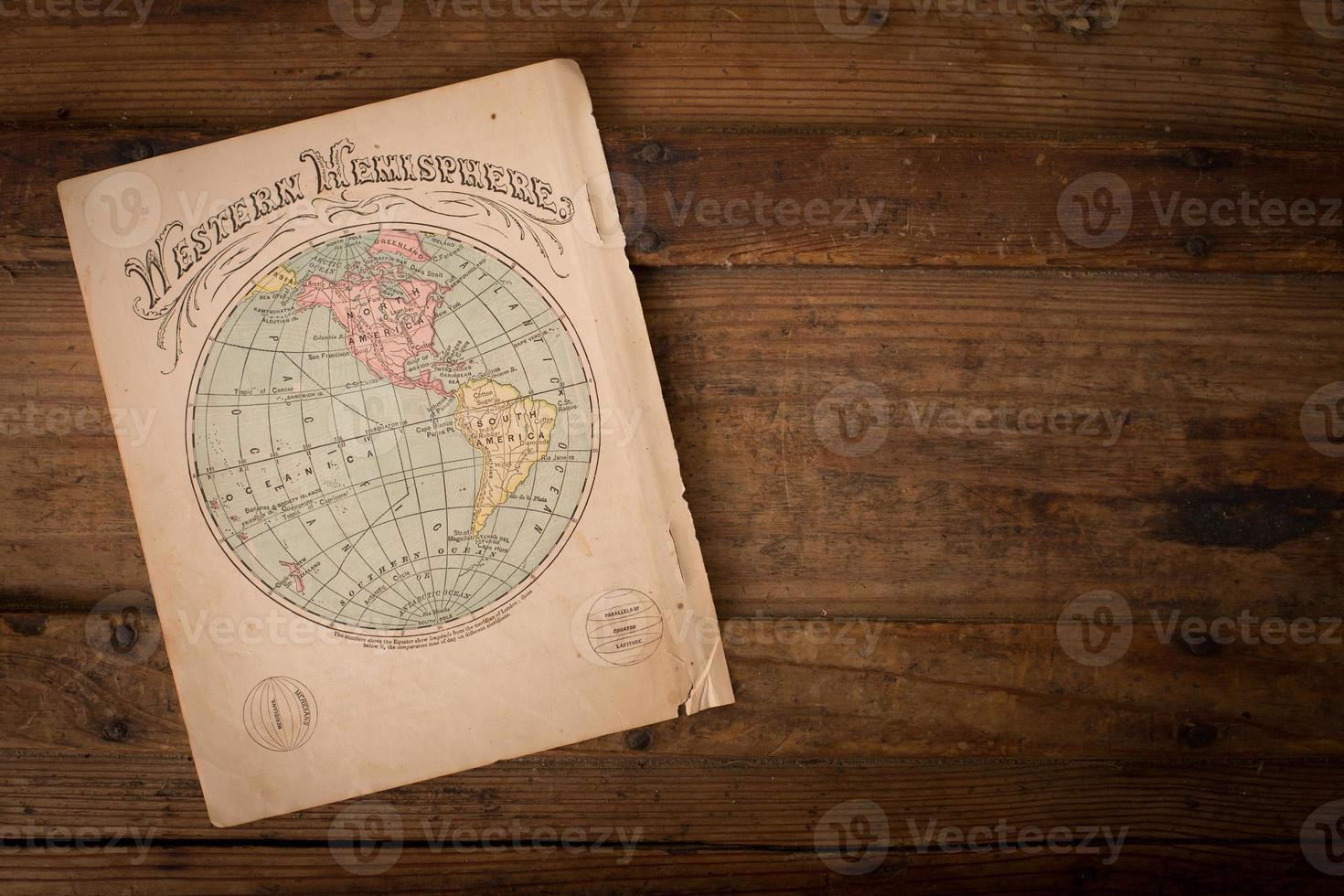 Old, Color Map of Western Hemisphere, With Copy Space photo