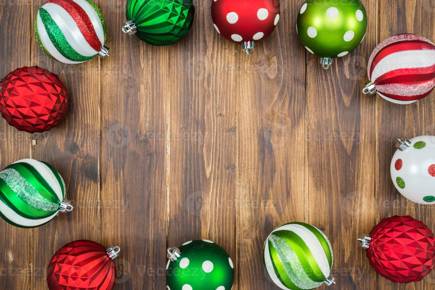 Luxury colorful Christmas ball on wooden background with Copy Space photo