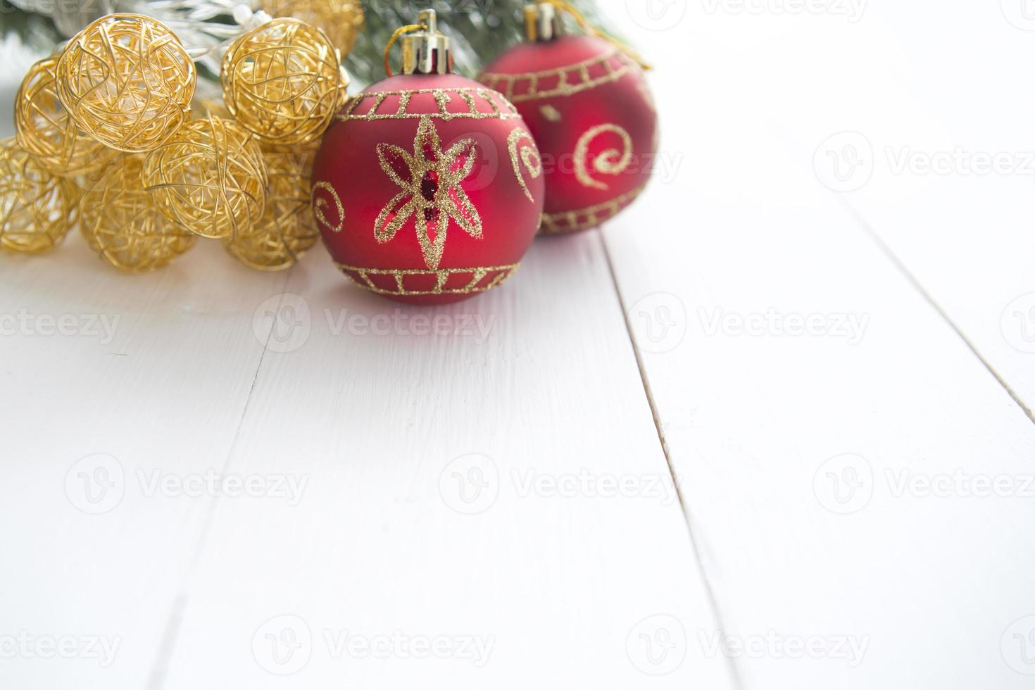 Christmas fir tree on wooden board background with copy space photo