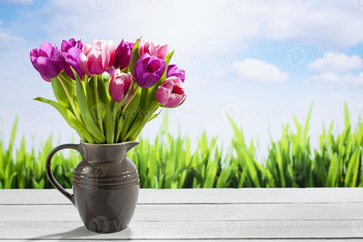 Bouquet of tulips, copy space photo