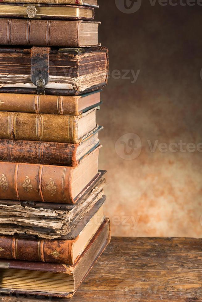 Antique books with copy space photo