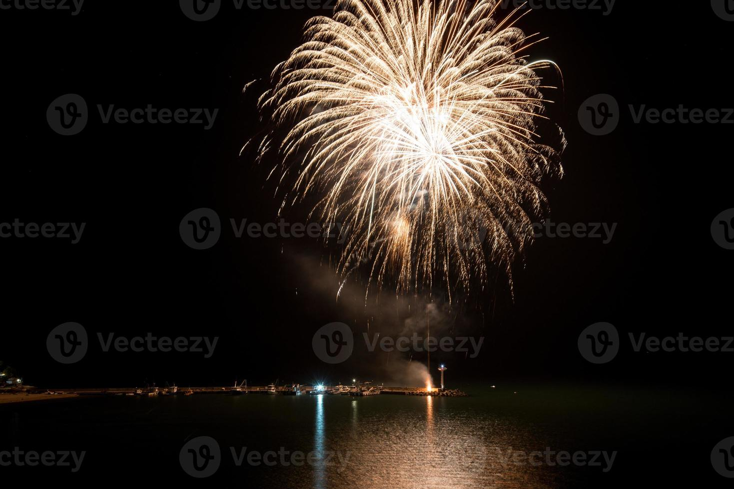 Fireworks on the beach - copy space photo