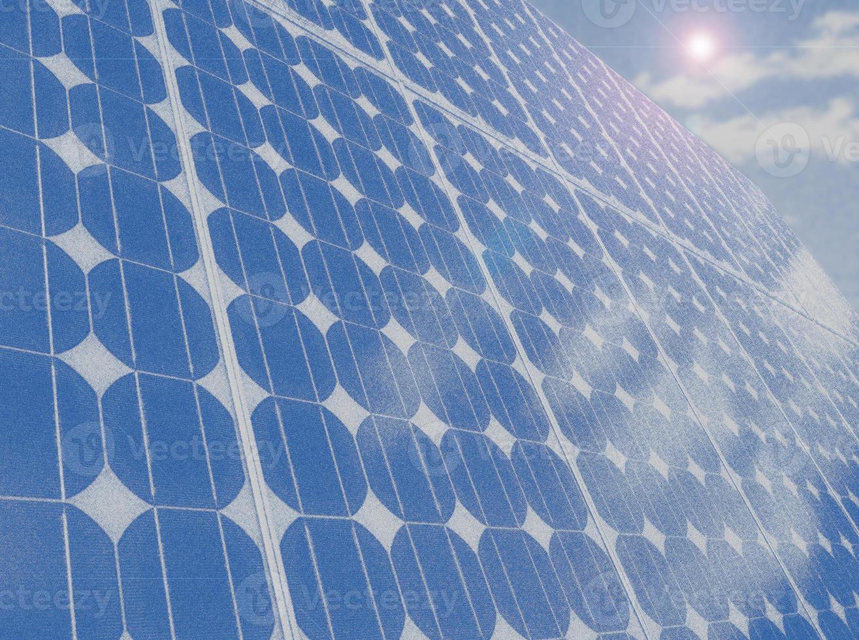 Ilustración de espacio de copia de cielo azul de células del panel solar foto