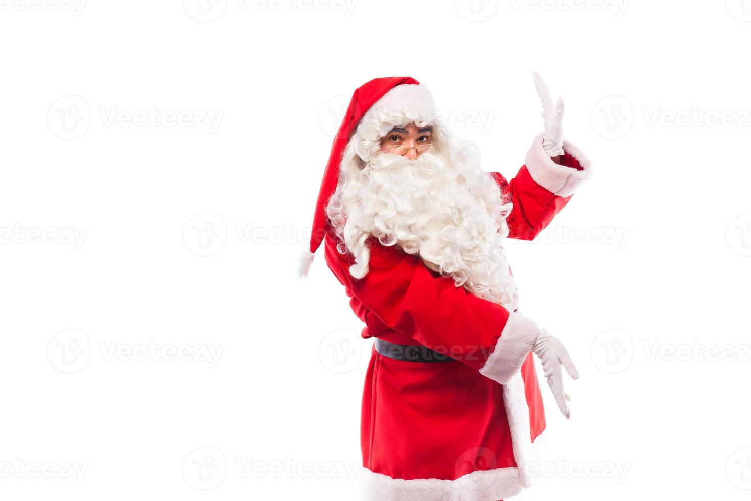 santa claus with  on white, with copy space photo