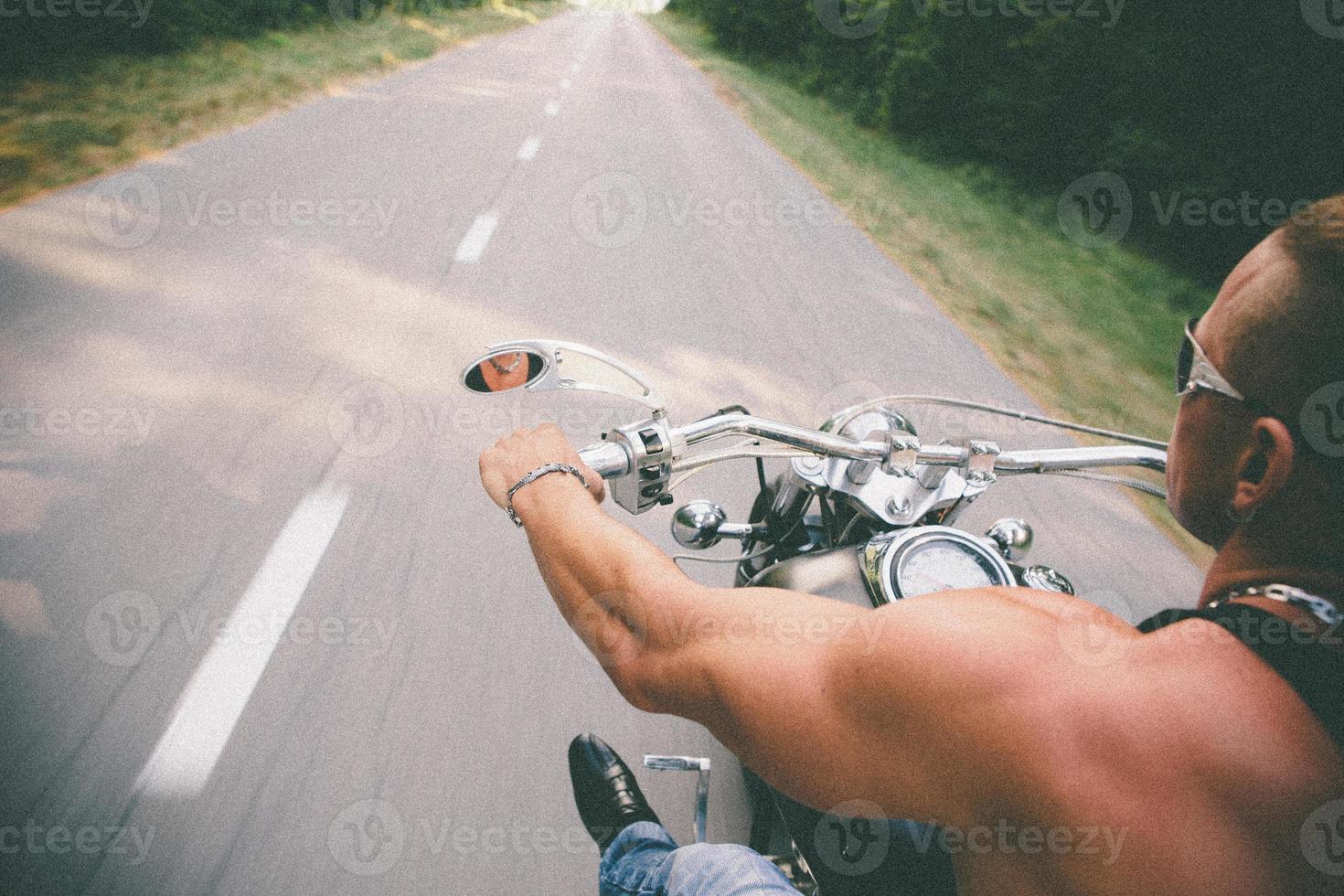 Motion Blur Photo Of Motorbike Rider, Copy Space
