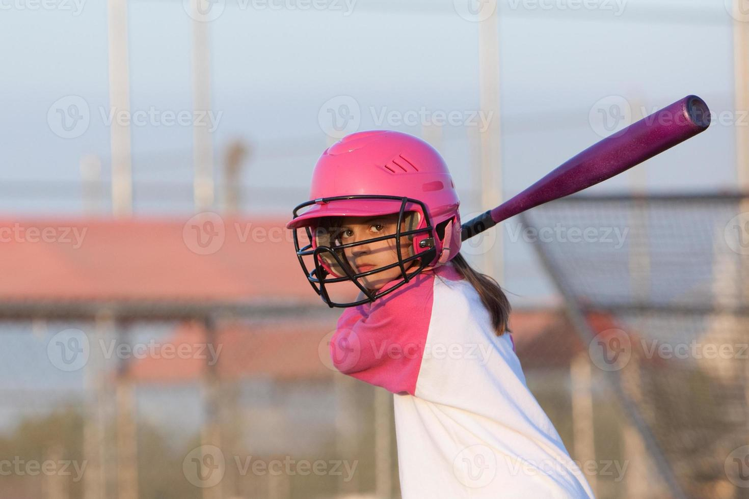 Little Girl Baseball Batter photo