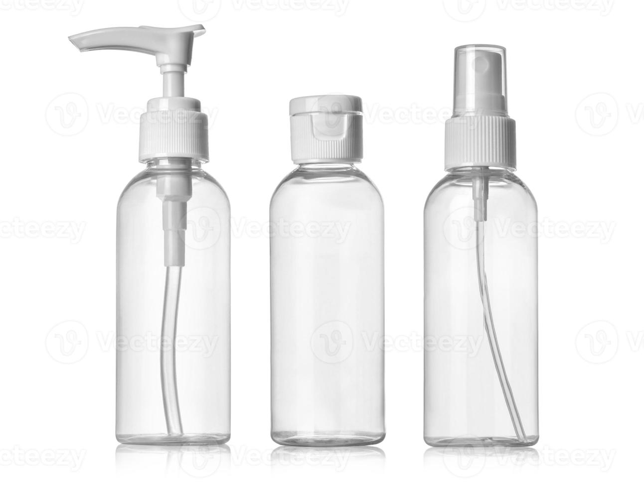 tres botellas en blanco foto