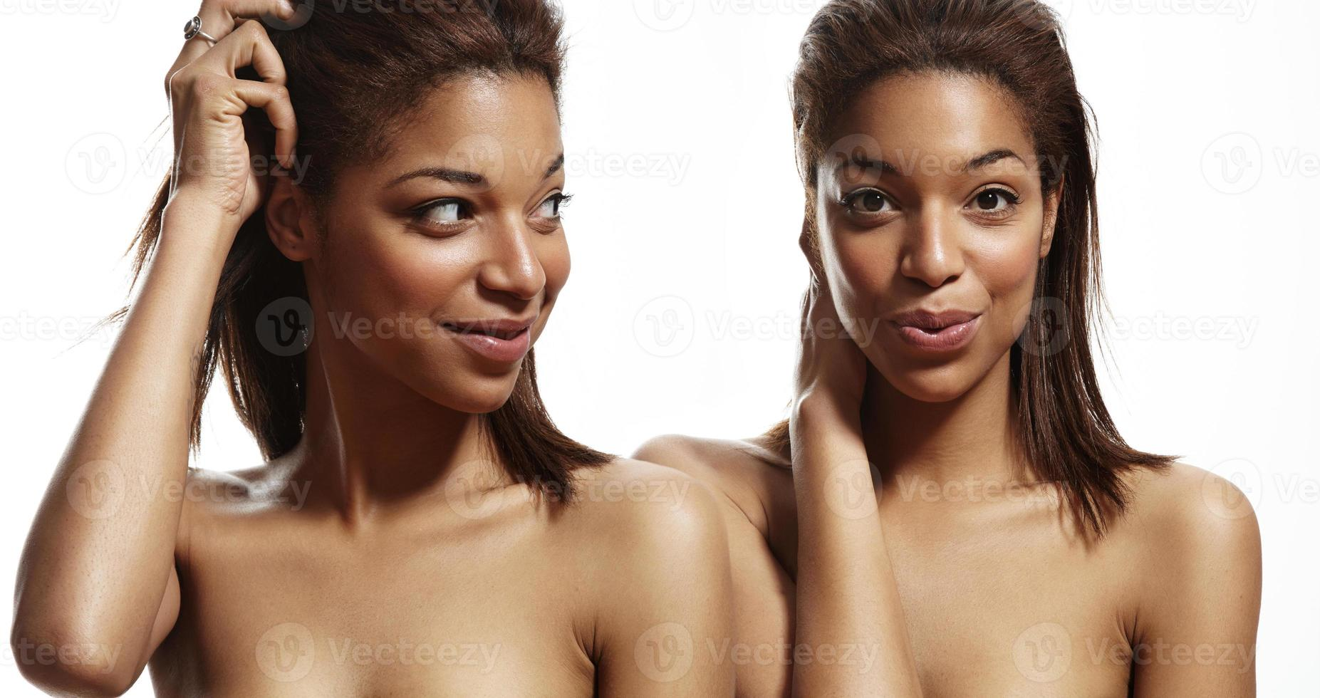 beauty black woman with an ideal skin photo