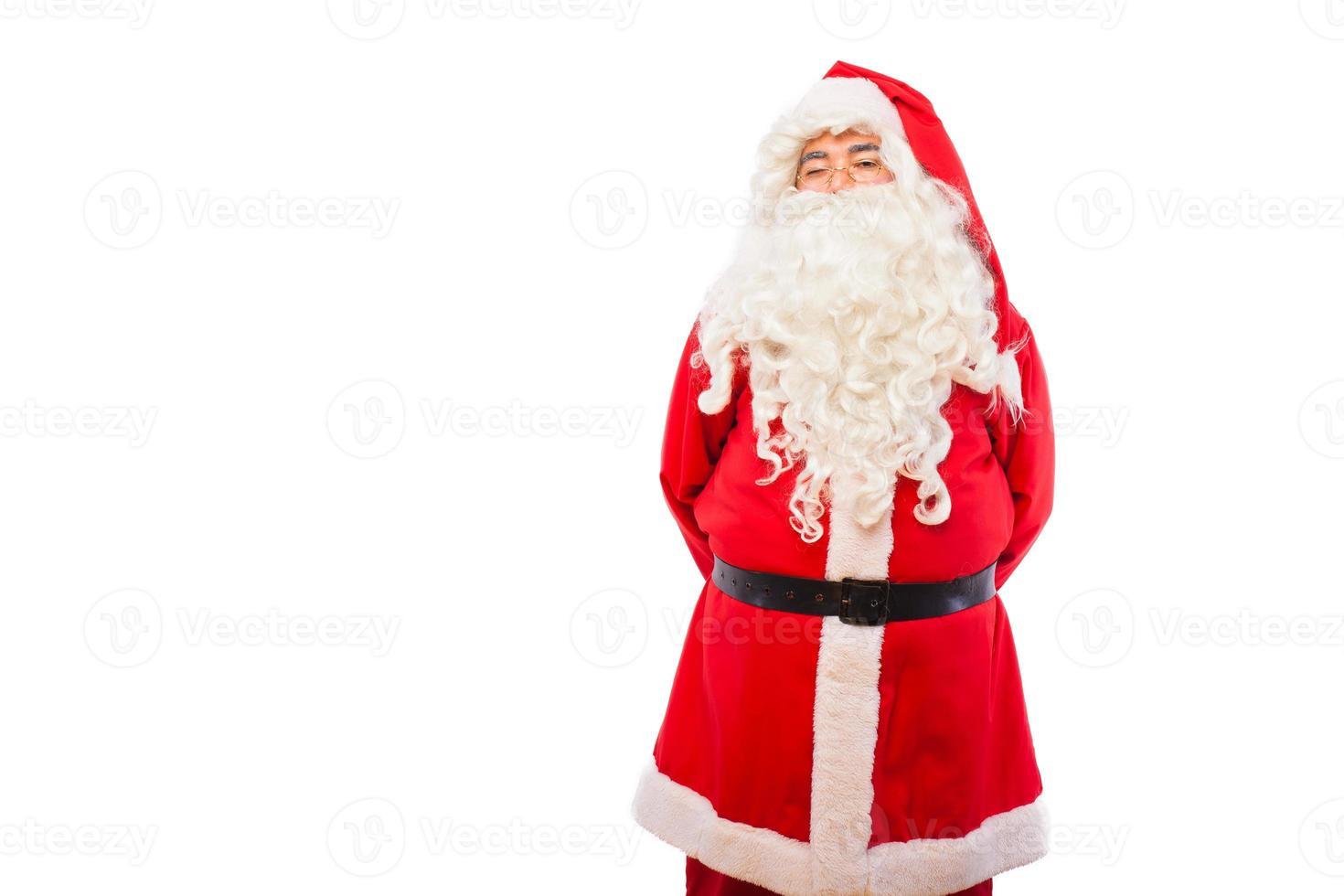 Papá Noel con en blanco, con espacio de copia foto