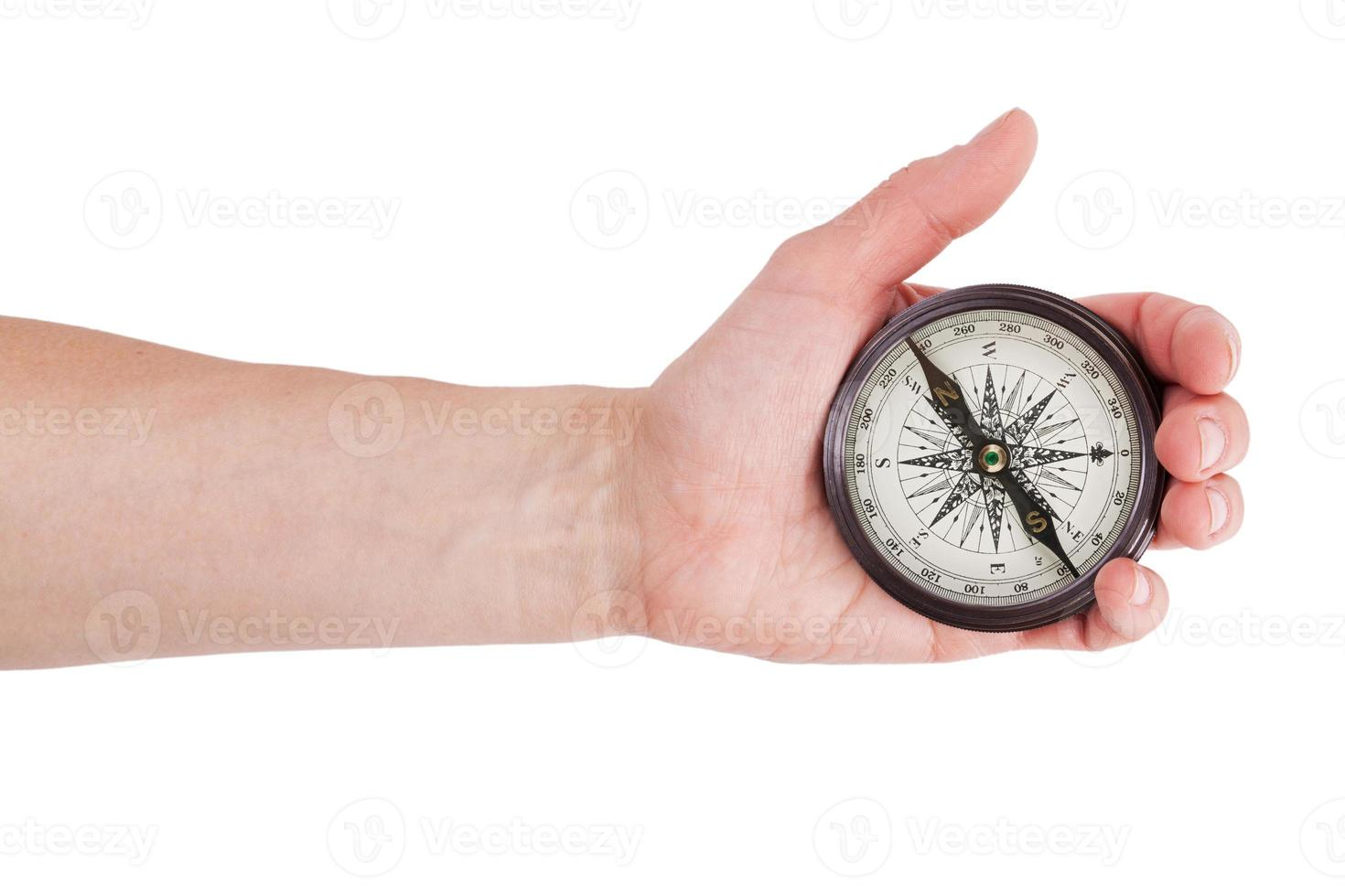 Geographical compass in human hand photo