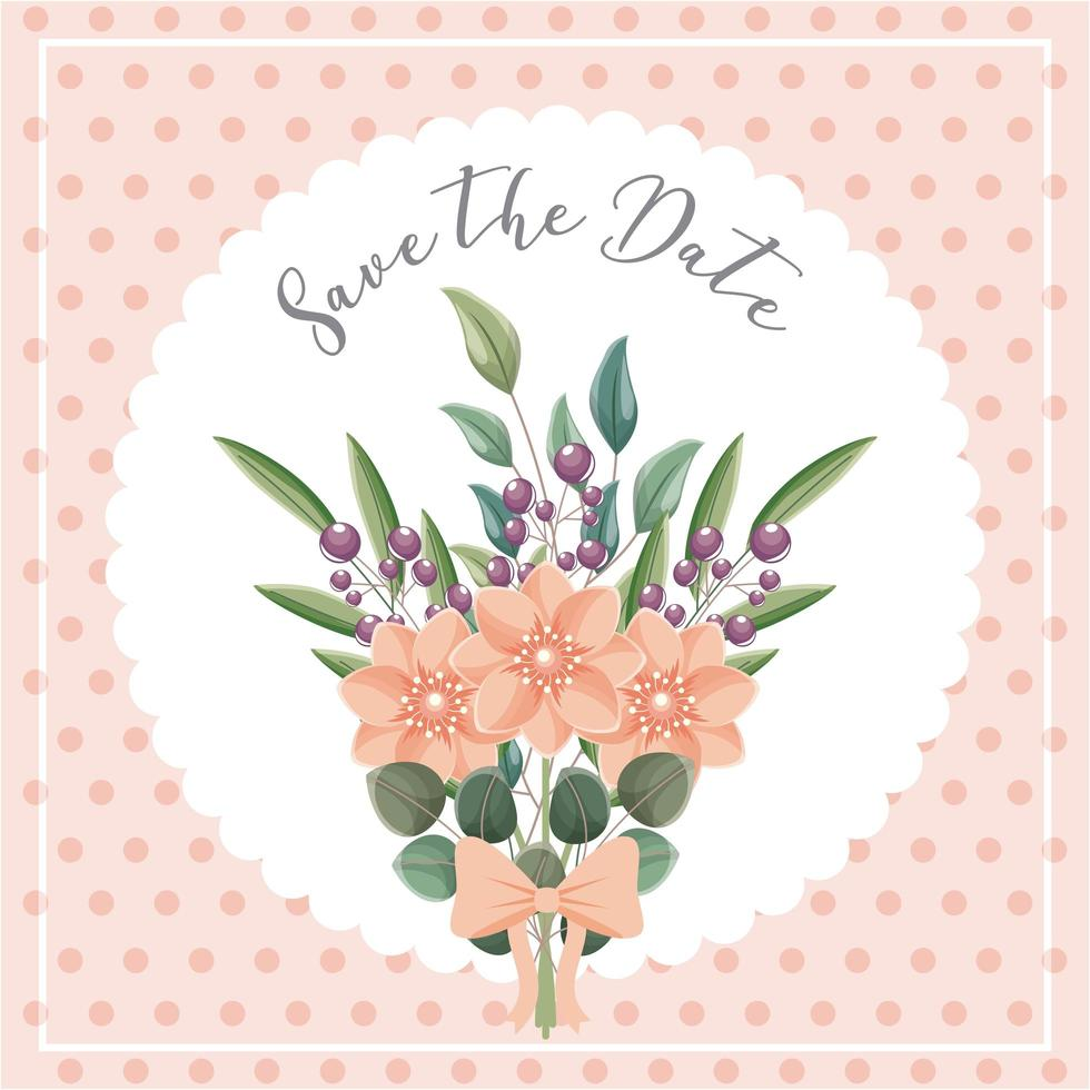 flowers bouquet save the date card vector