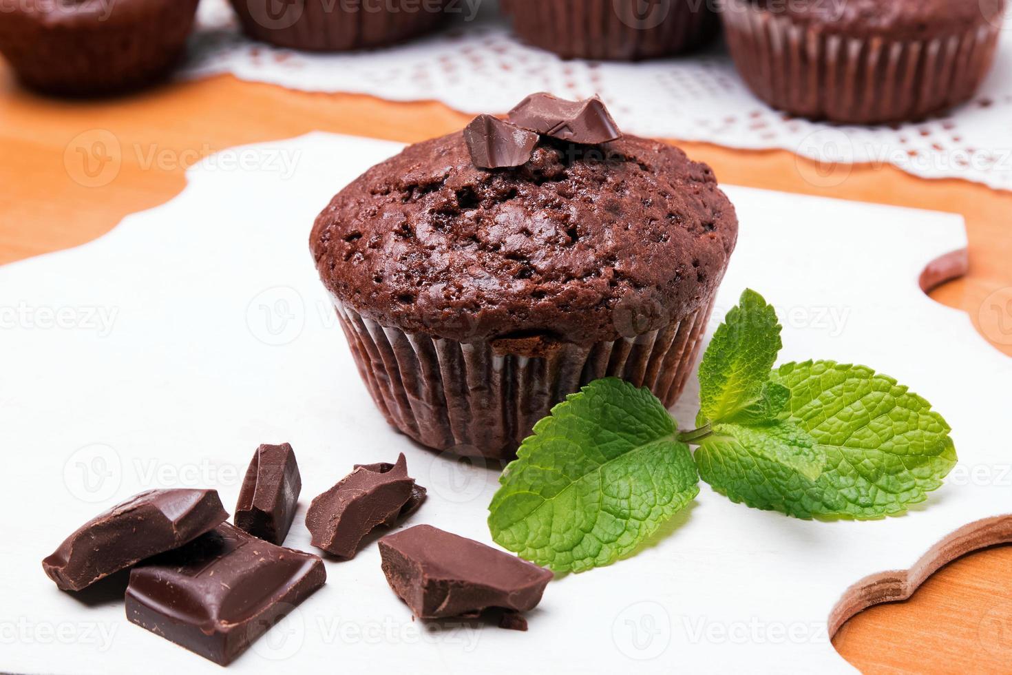 Chocolate muffin close-up photo