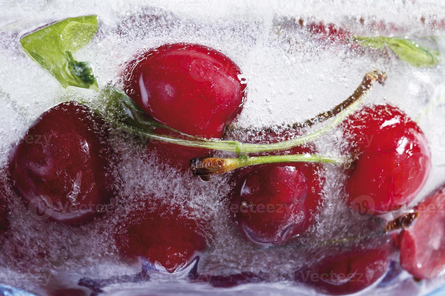 Frozen cherries, close-up photo