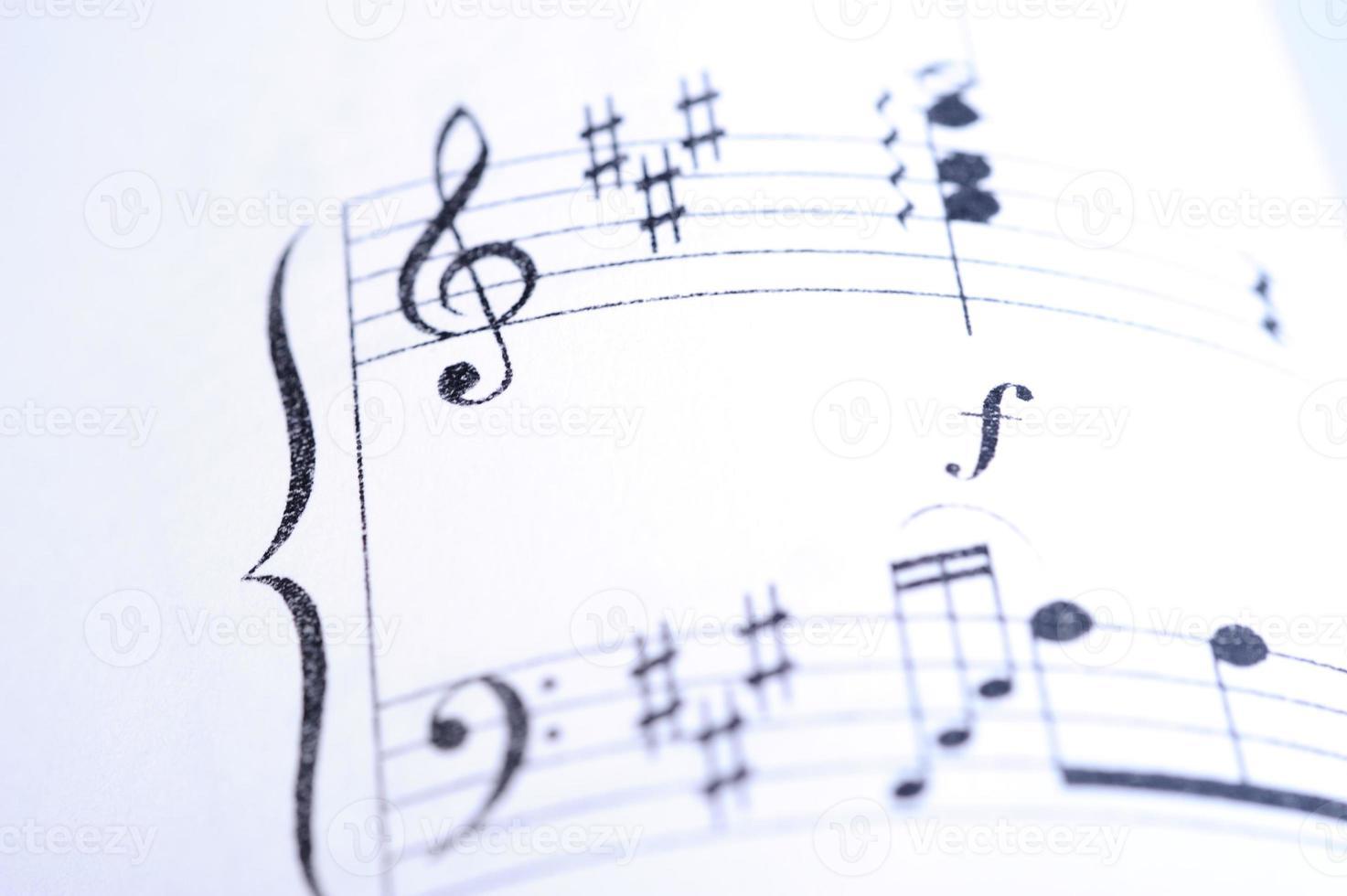 Sheet music close up photo