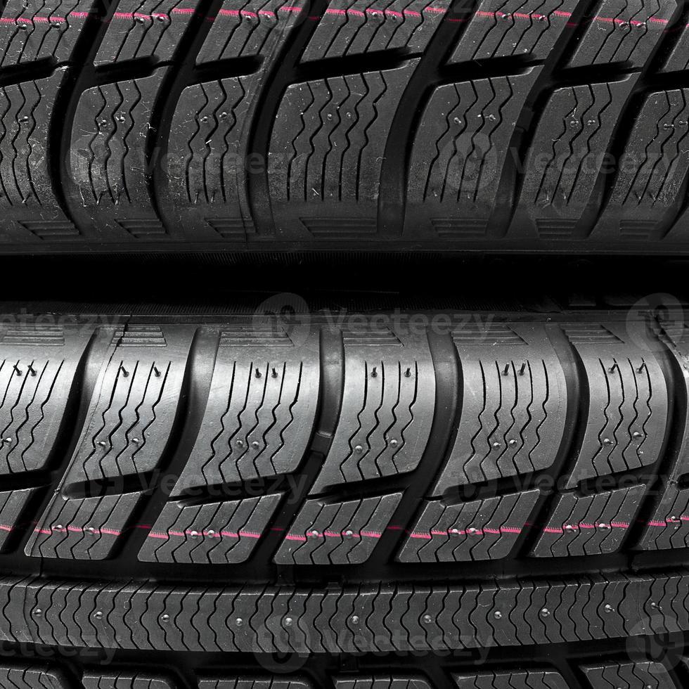 Snow tires close-up photo