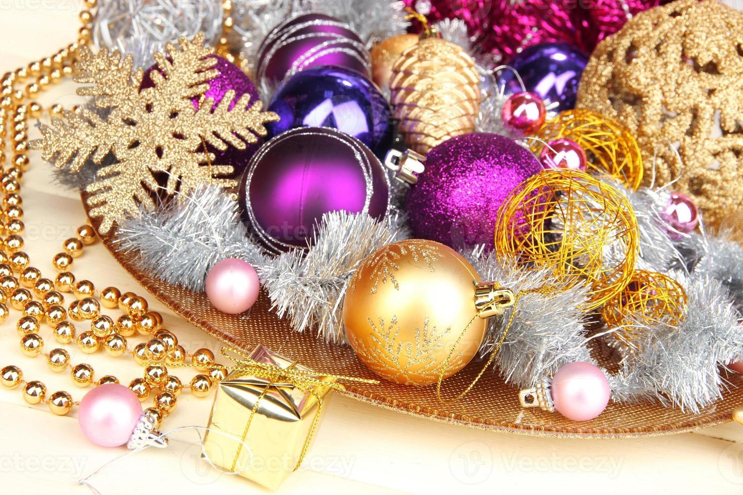 Christmas decorations close up photo