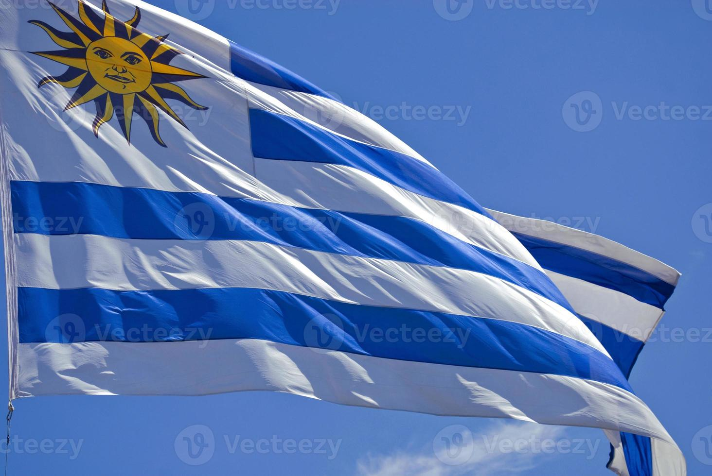 Bandeira do Uruguai close-up foto