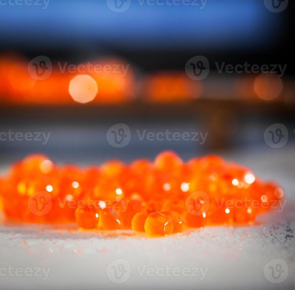 Red caviar close up photo
