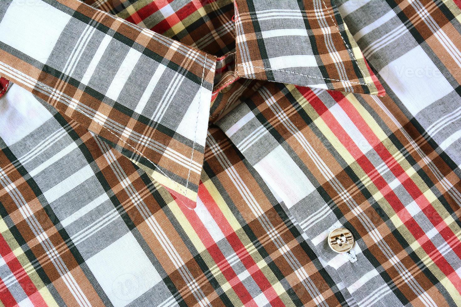 Close up plaid shirt. photo