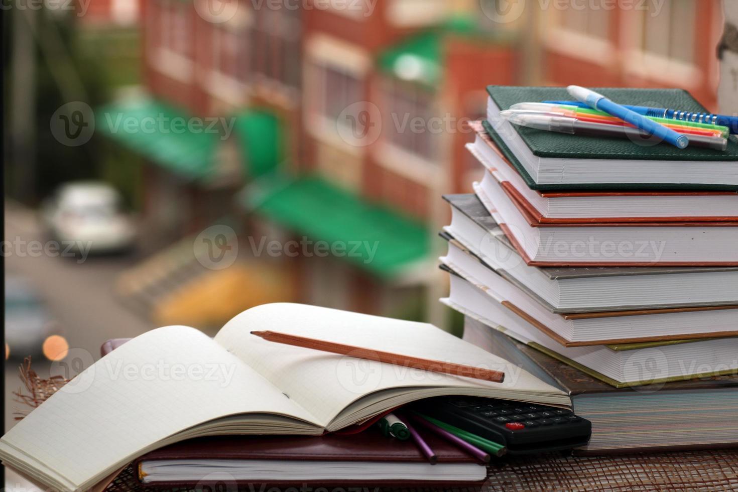 bolígrafo lápiz libros de texto de estudio foto