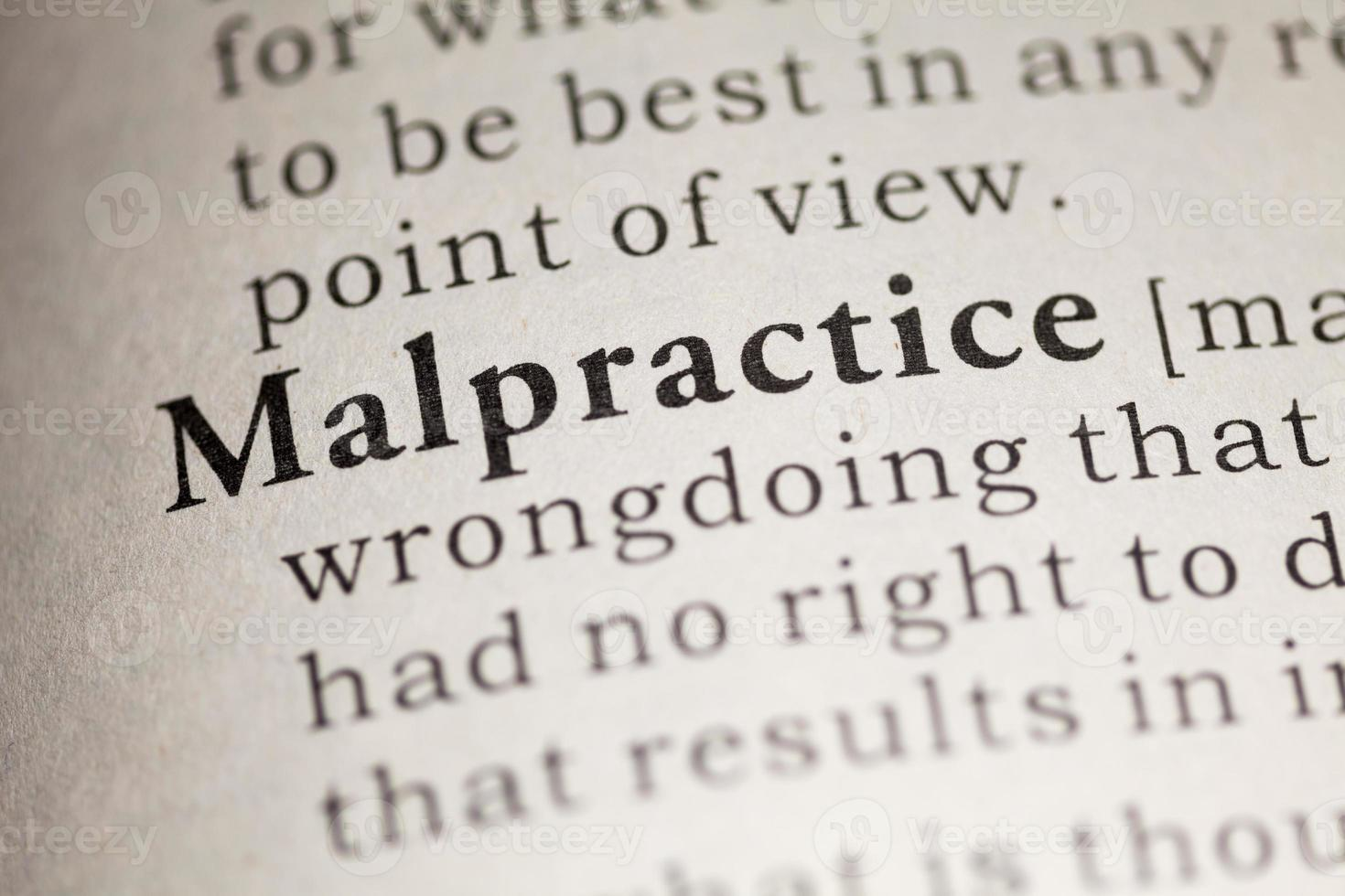 Definition of malpractice in dictionary photo