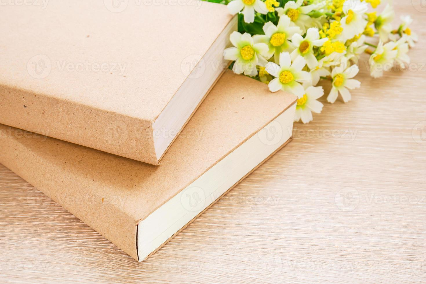 Books and daisy flower photo