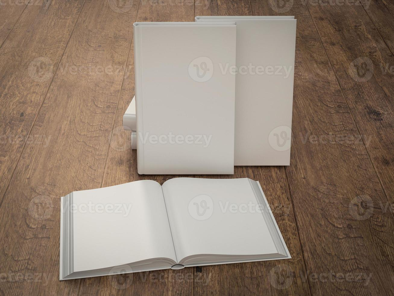 Empty white book mockup template on wood background photo
