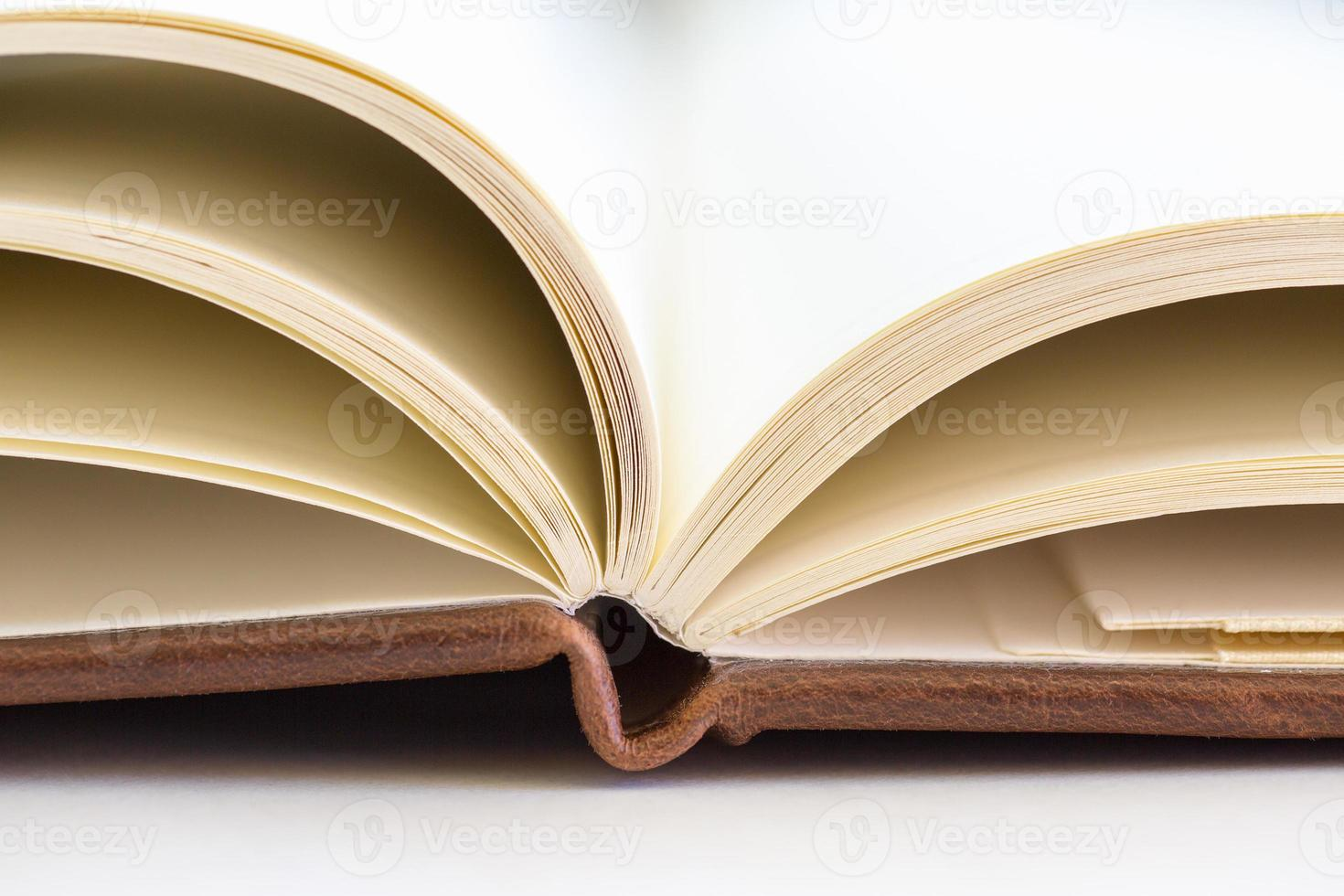 close up on open book pages photo