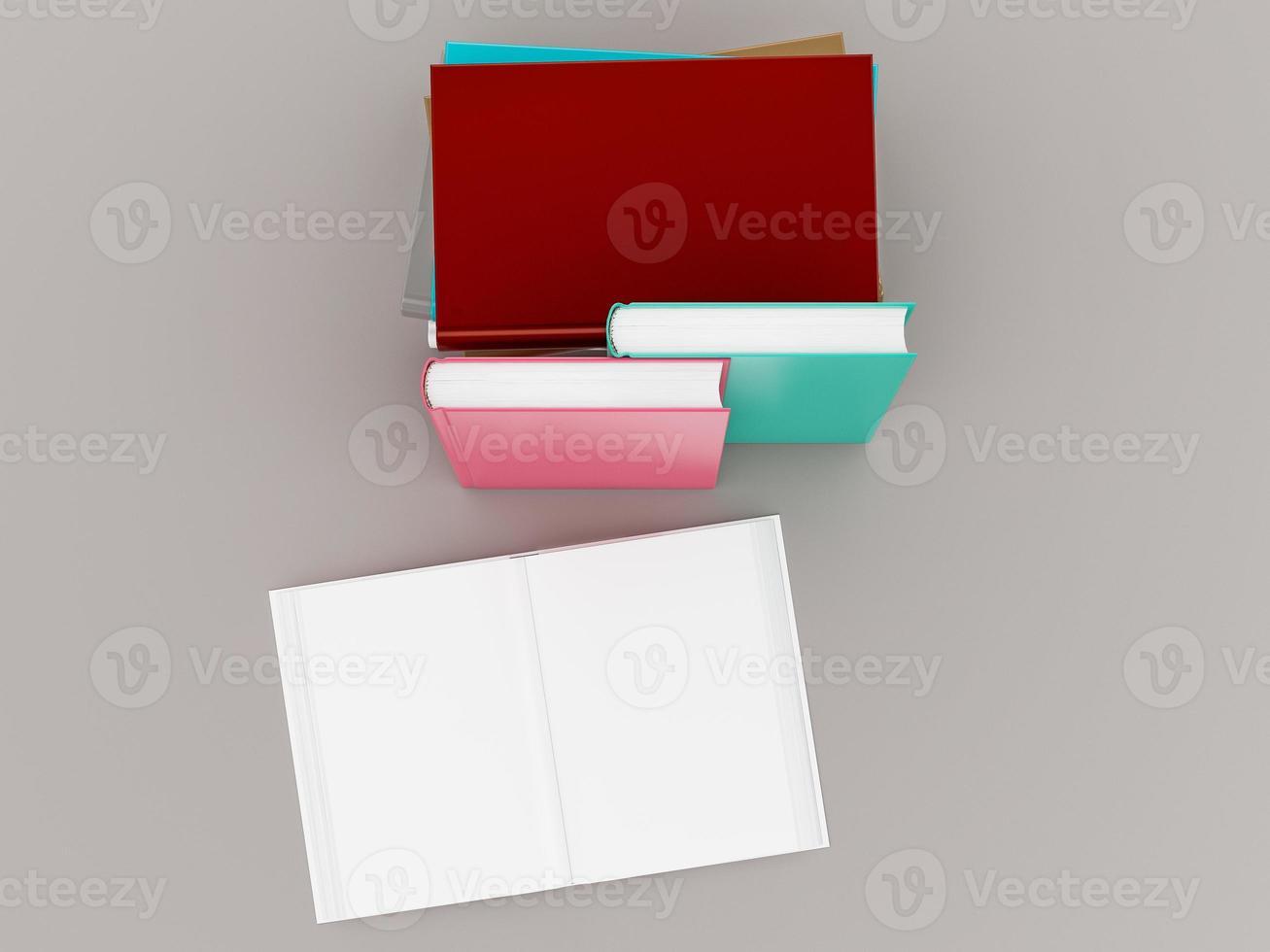 Plantilla de maqueta de libro de color vacío sobre fondo gris foto