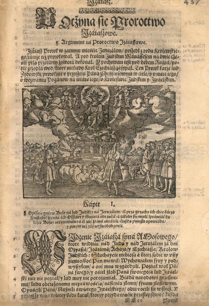 gravure sur bois de la bible du XVIe siècle photo