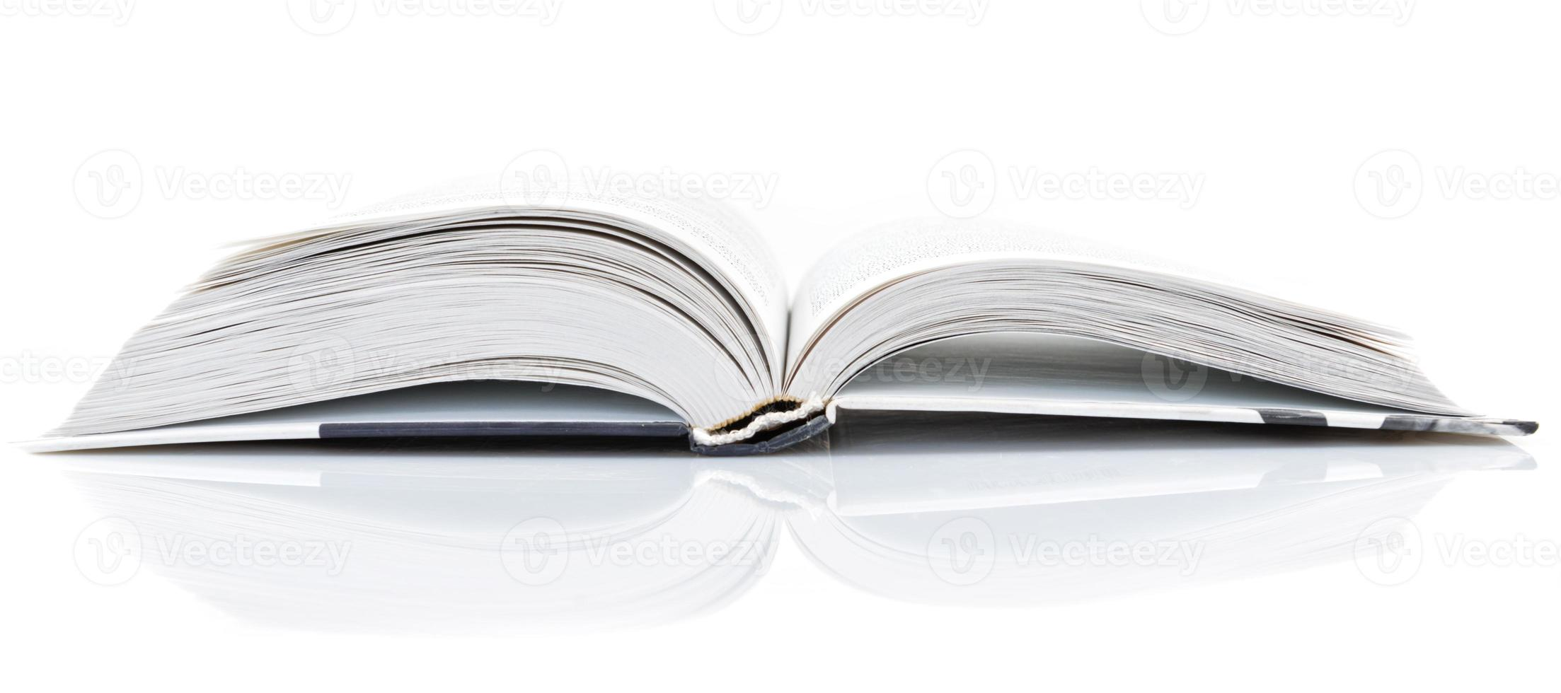 open book on white background photo