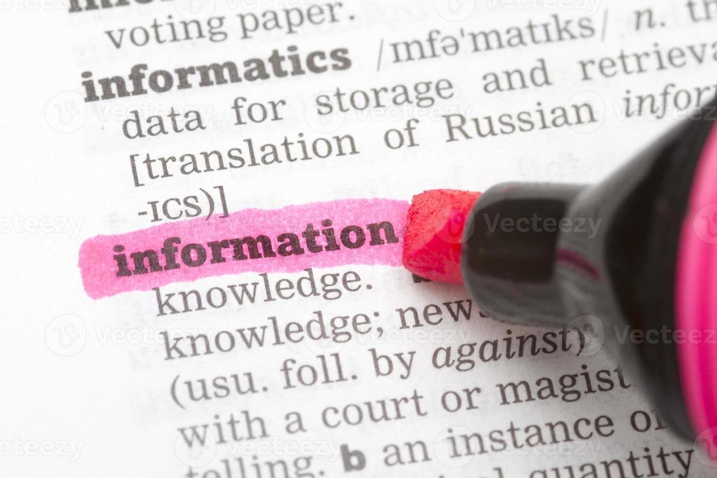 definición del diccionario de información foto
