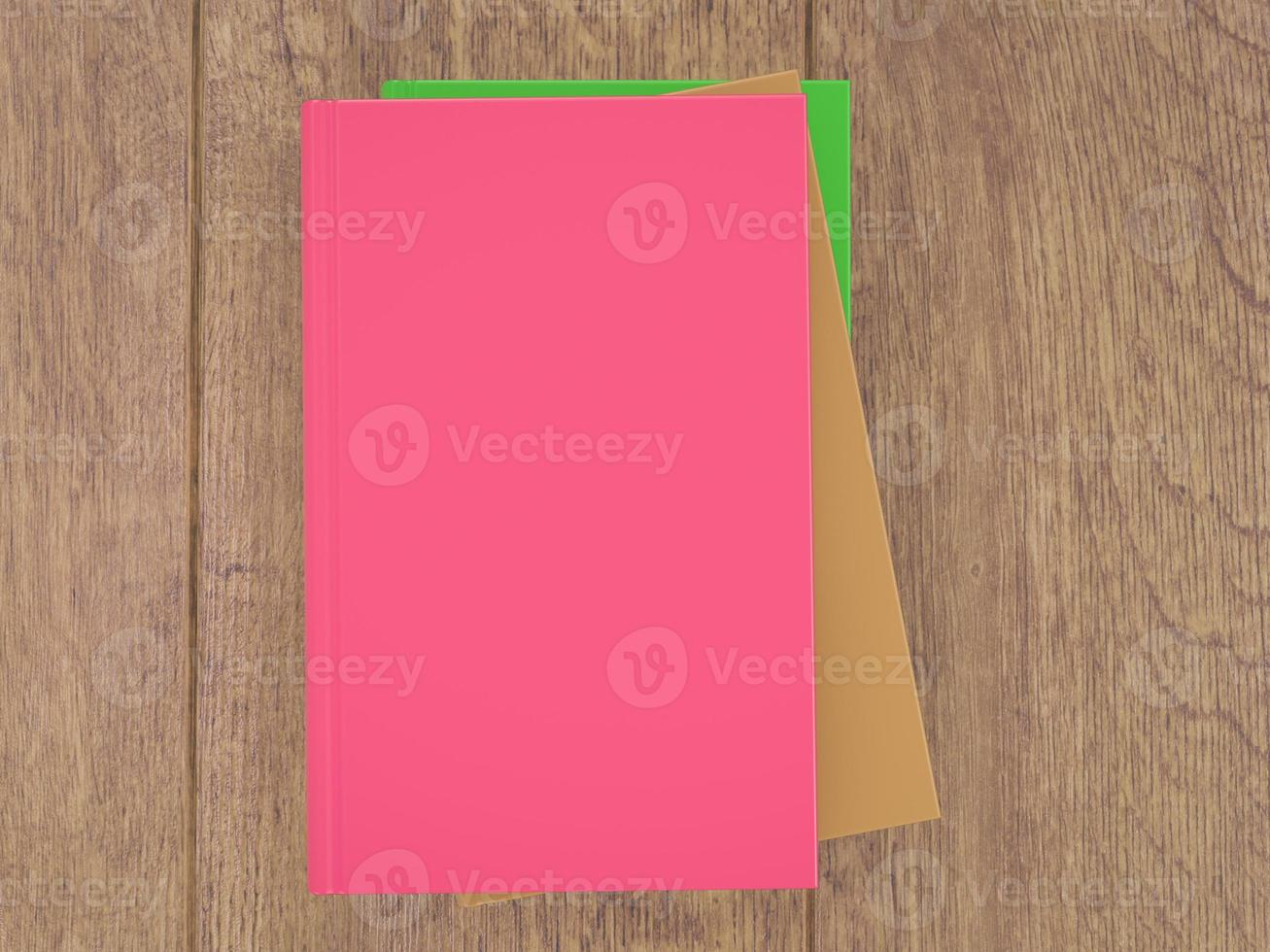 Empty colored books mockup template. High resolution. photo