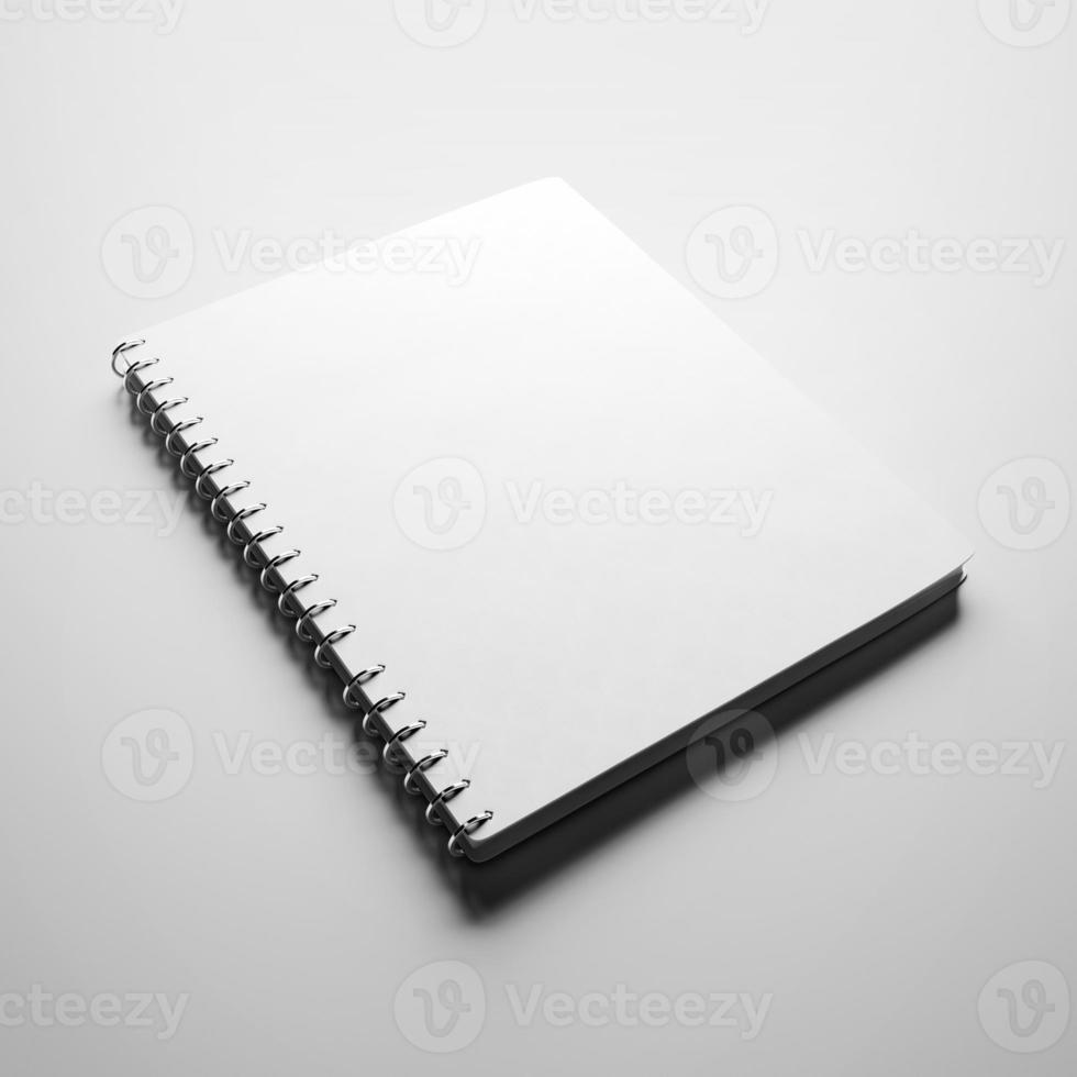 White notebook with blank cover photo