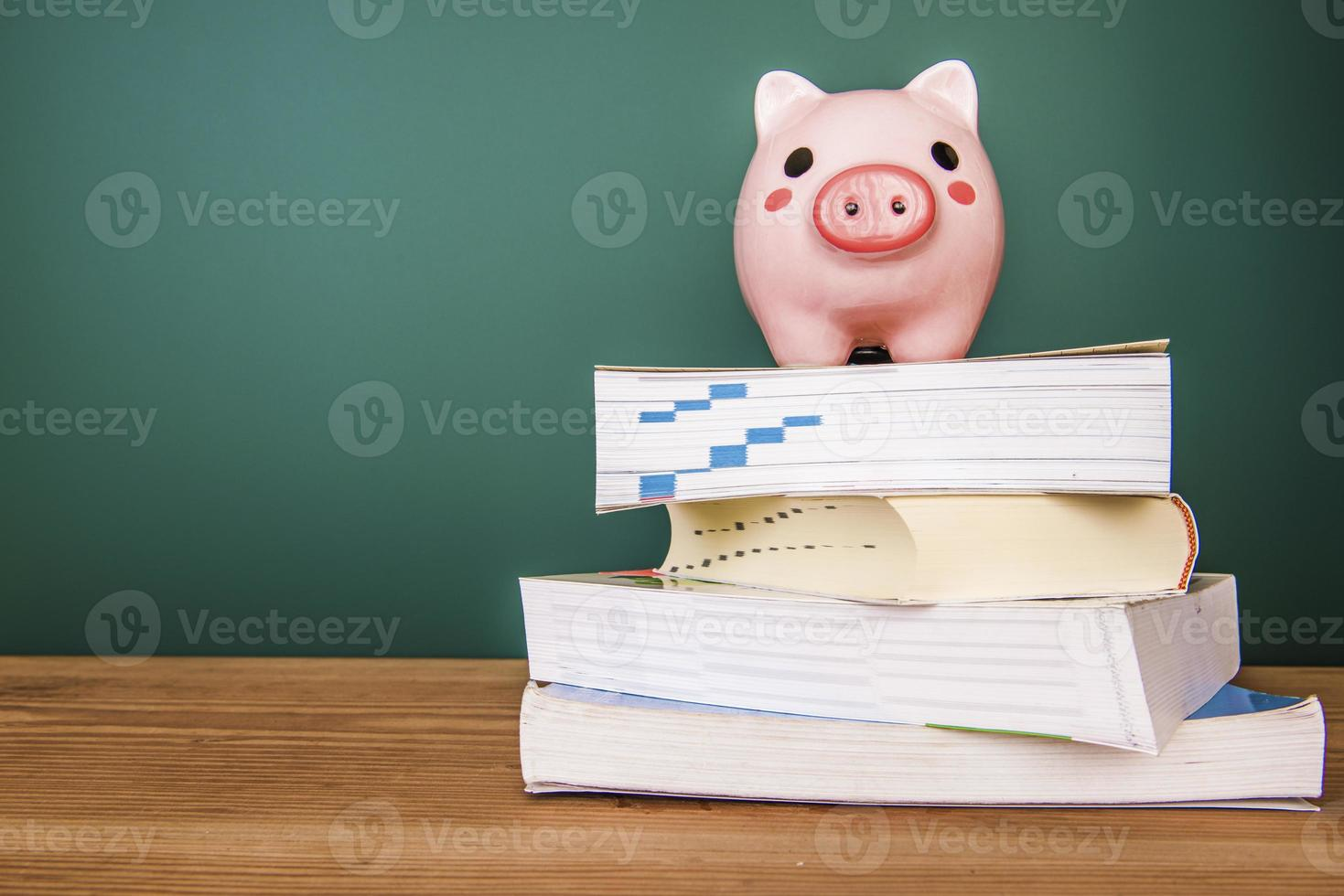 Piggy bank on top of books photo