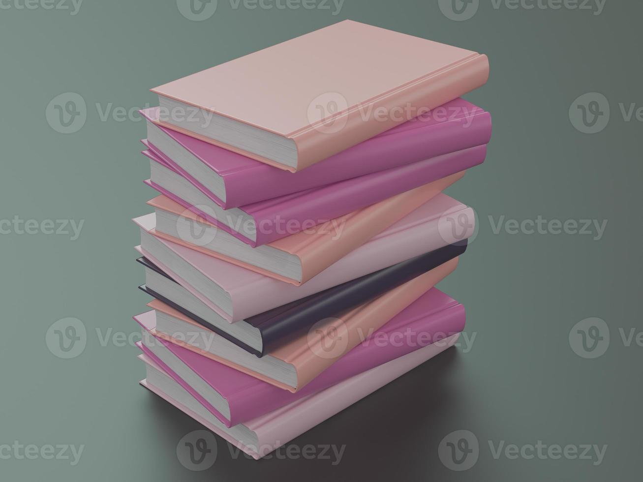 Plantilla de maqueta de libro de color vacío sobre fondo negro foto
