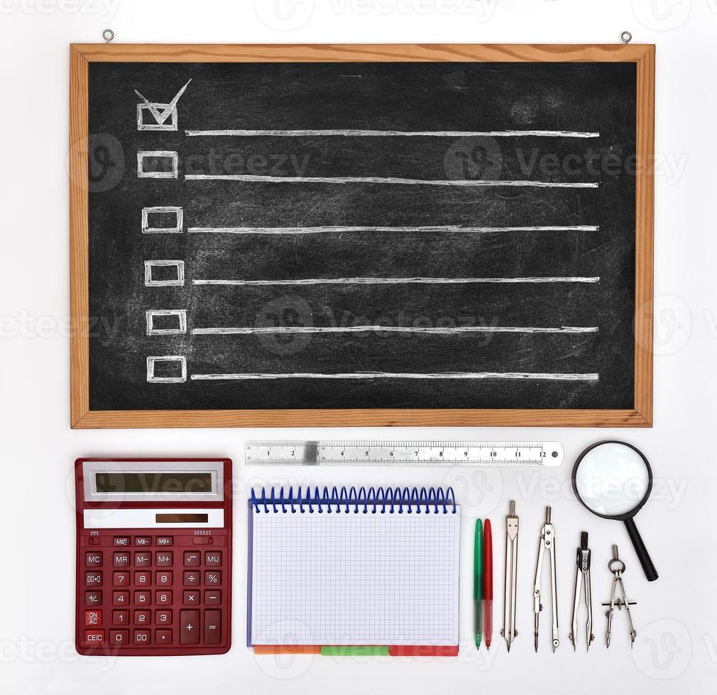 chalk board with drawing checklist photo