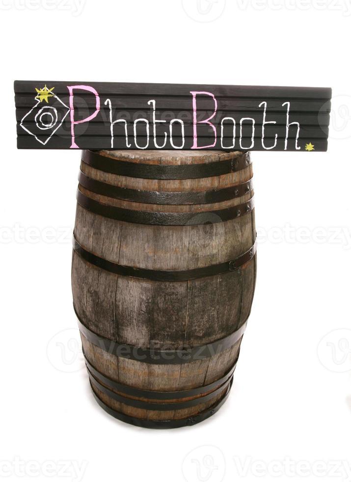 Handmade chalkboard photobooth sign and barrel photo