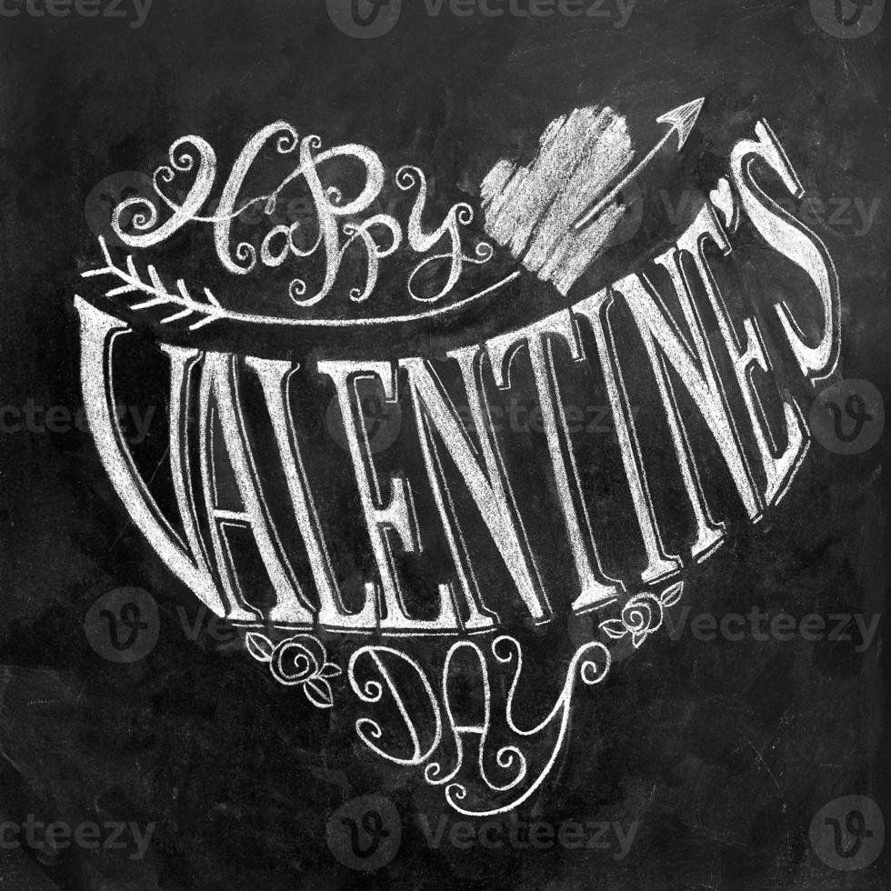 Valentine's Day hand lettering on chalkboard photo