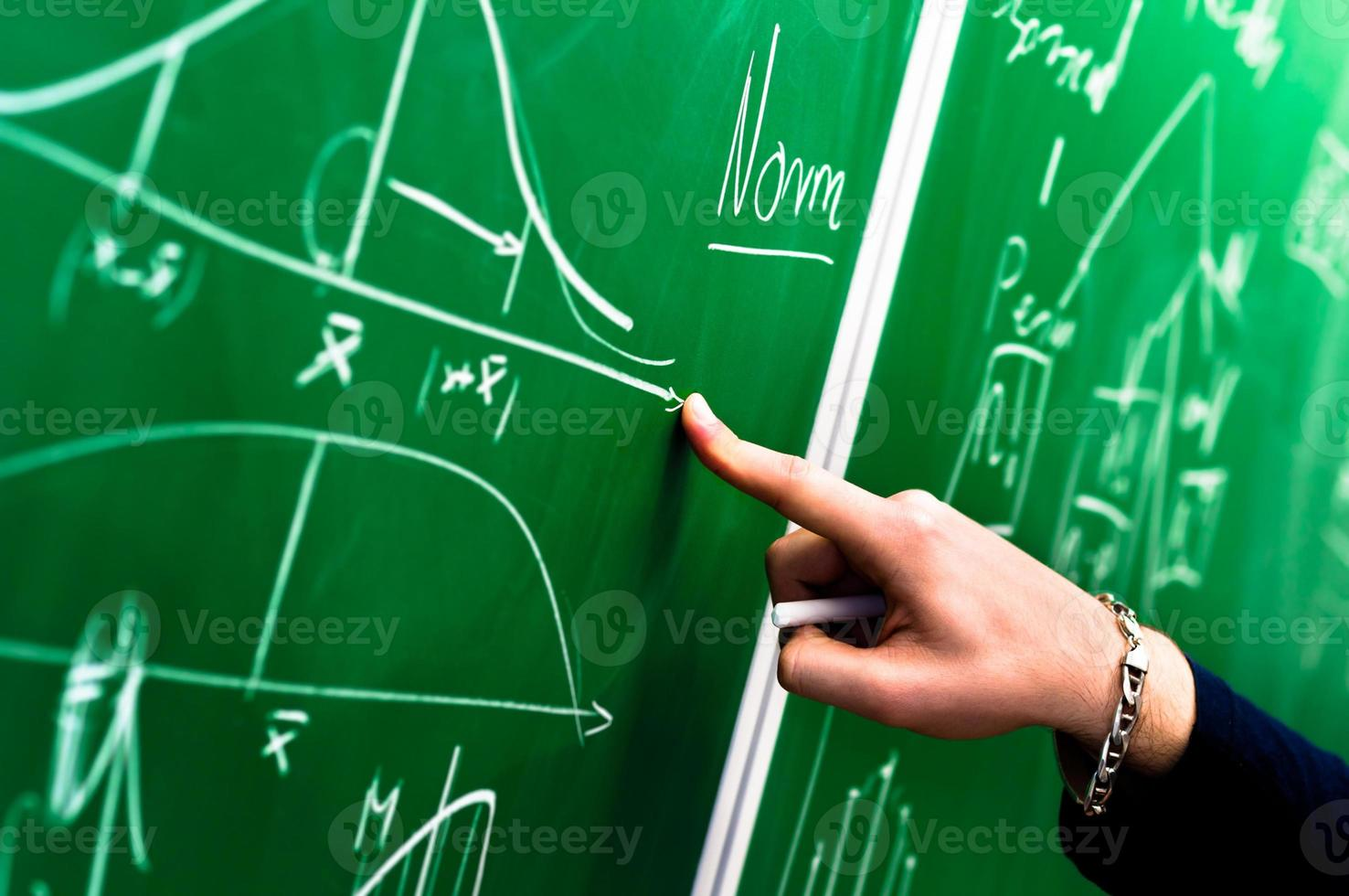 Hand of a student pointing at green chalk board photo