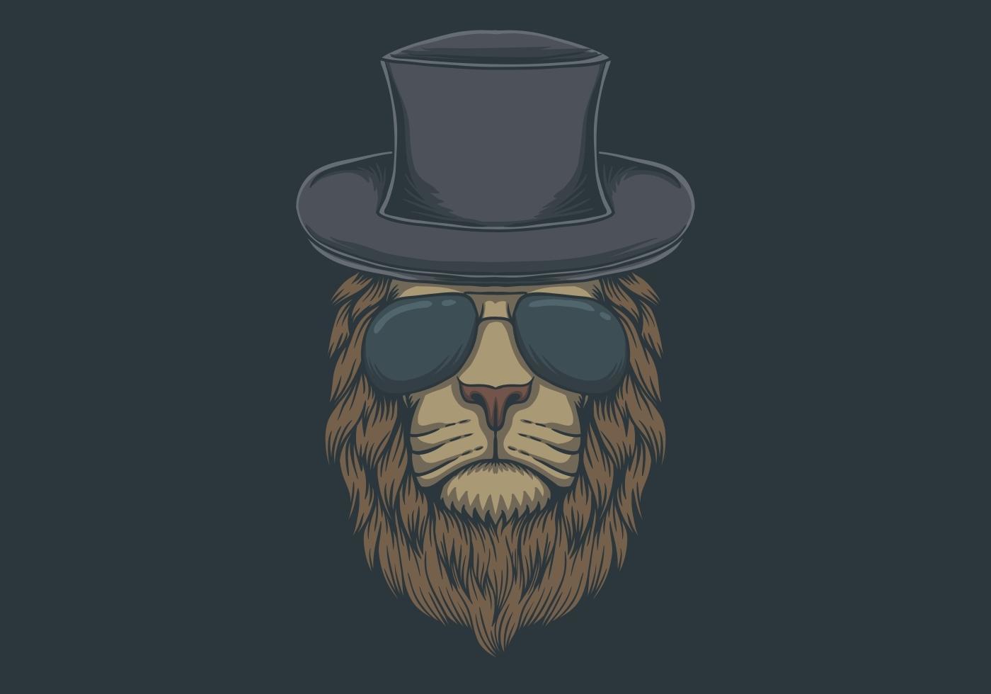 cabeza de león con ilustración de anteojos vector